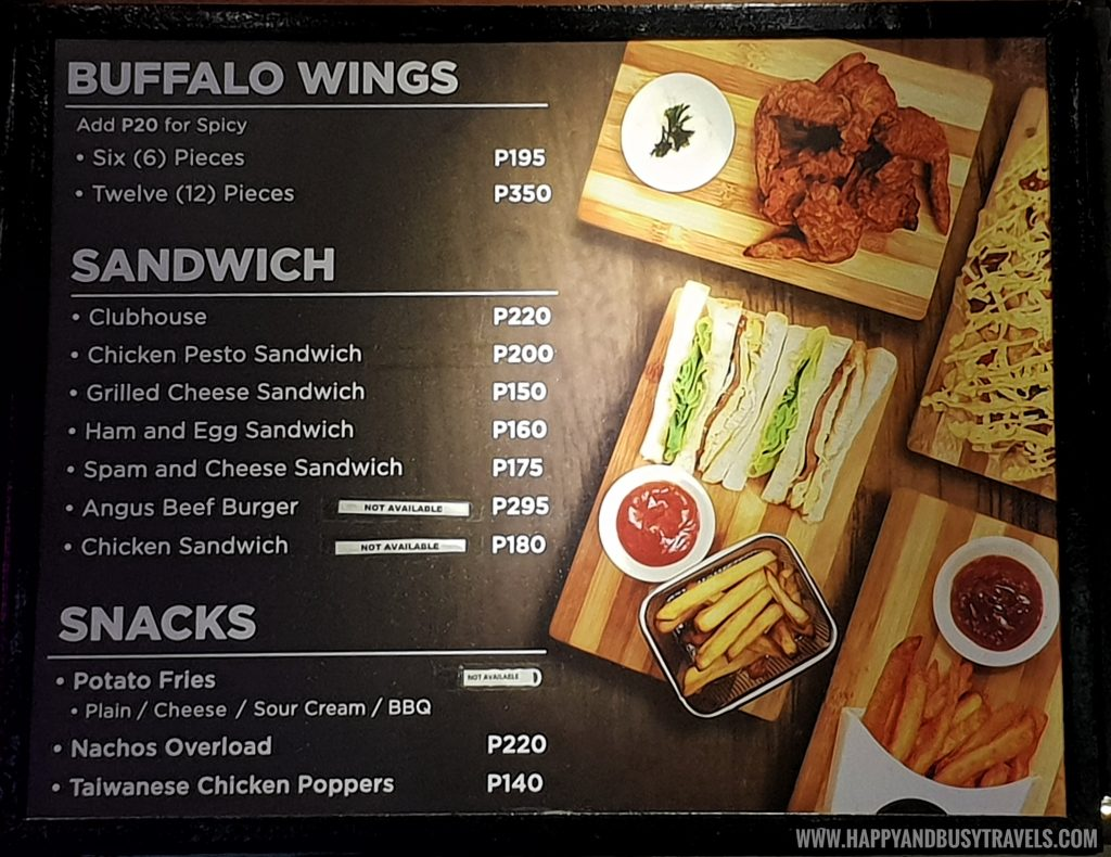 buffalo wings sandwich snacks menu of Black Scoop Cafe SM Dasmarinas Cavite Branch review Happy and Busy Travels