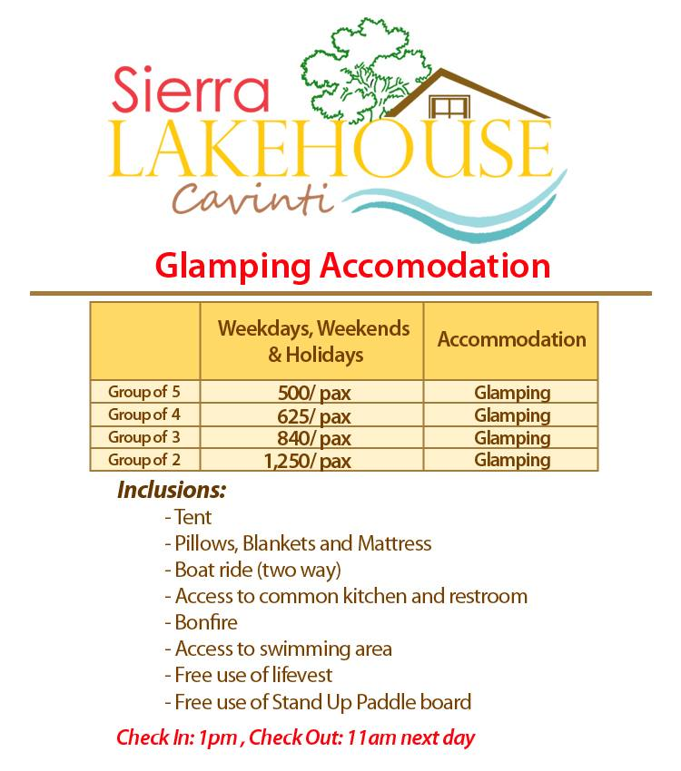 Glamping accommodation rates in Sierra Lake House Private Island for rent in Cavinti Laguna Happy and Busy Travels
