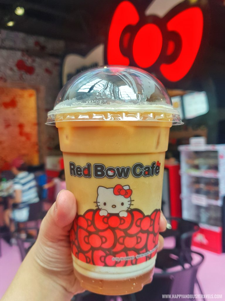 cold latte in Red Bow Cafe Hello Kitty Town Puteri Harbour Johor Malaysia Happy and Busy Travels