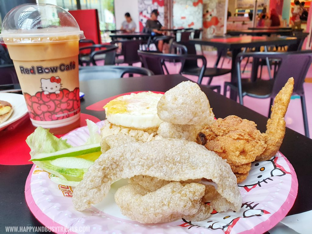 fried chicken meal Red Bow Cafe Hello Kitty Town Puteri Harbour Johor Malaysia Happy and Busy Travels