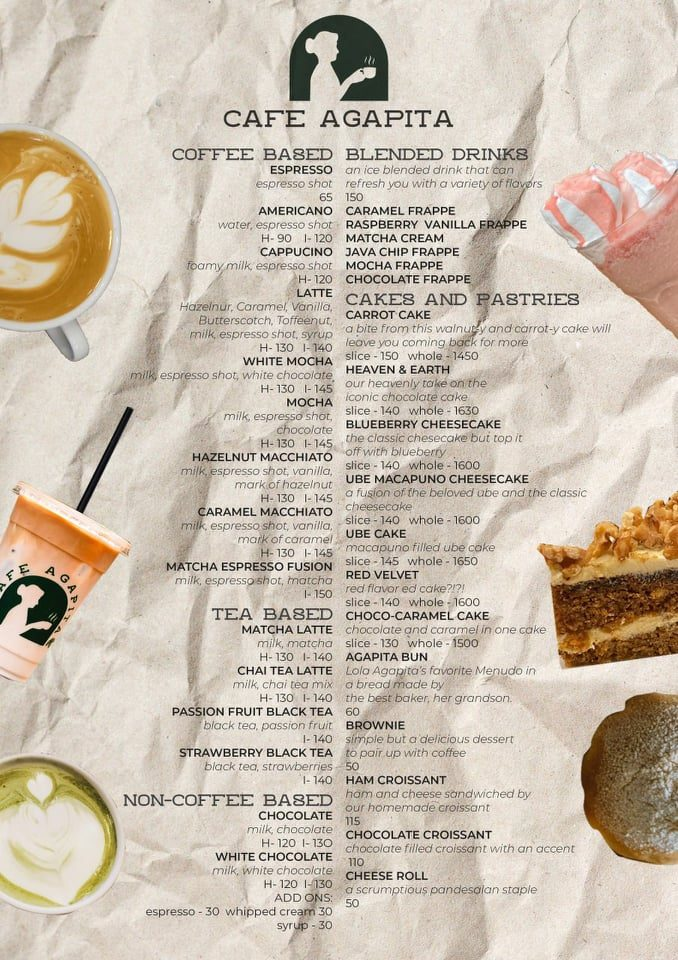 Cafe AGapita Menu drinks coffee tea cakes Happy and Busy Travels review