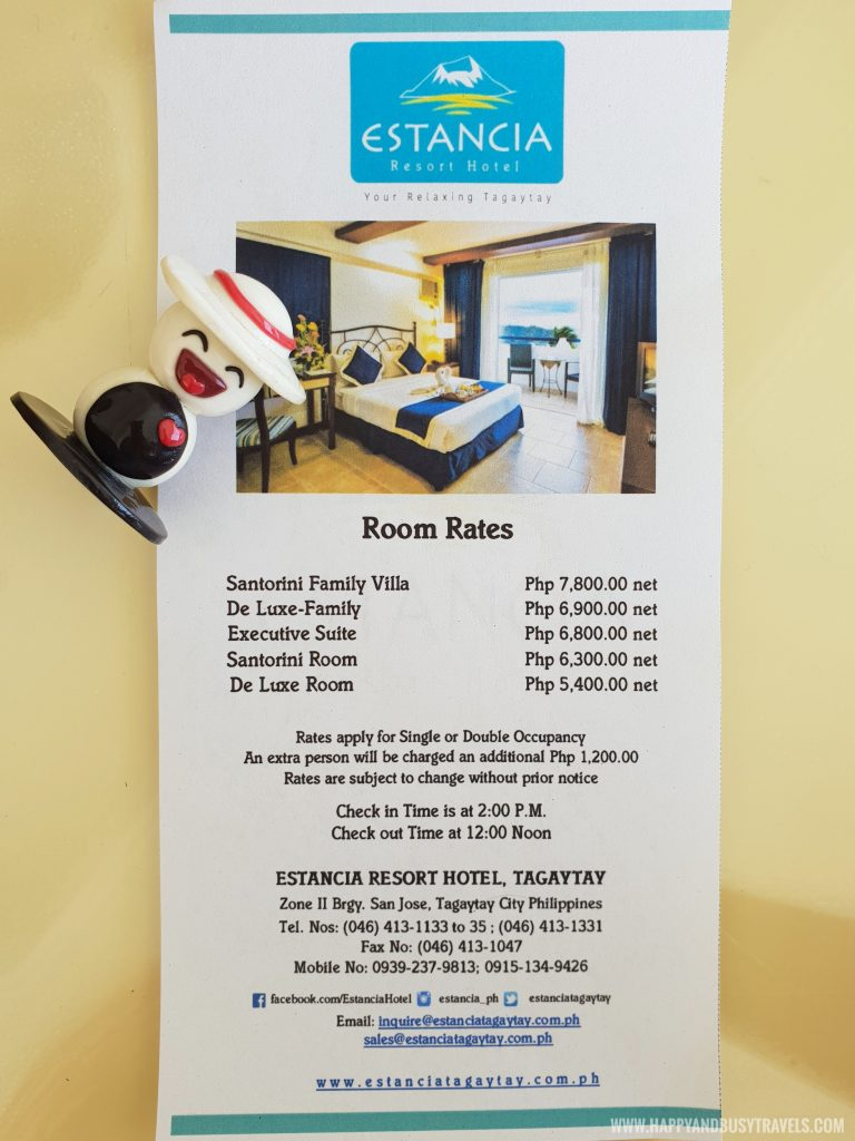Room Rates Estancia Resort Hotel Happy and Busy Travels to Tagaytay