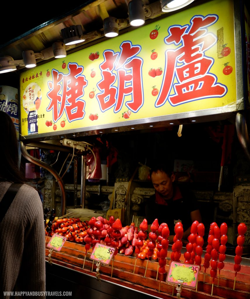 candied tomato strawberry Shilin Night Market Food Trip Happy and Busy Travels to Taiwan