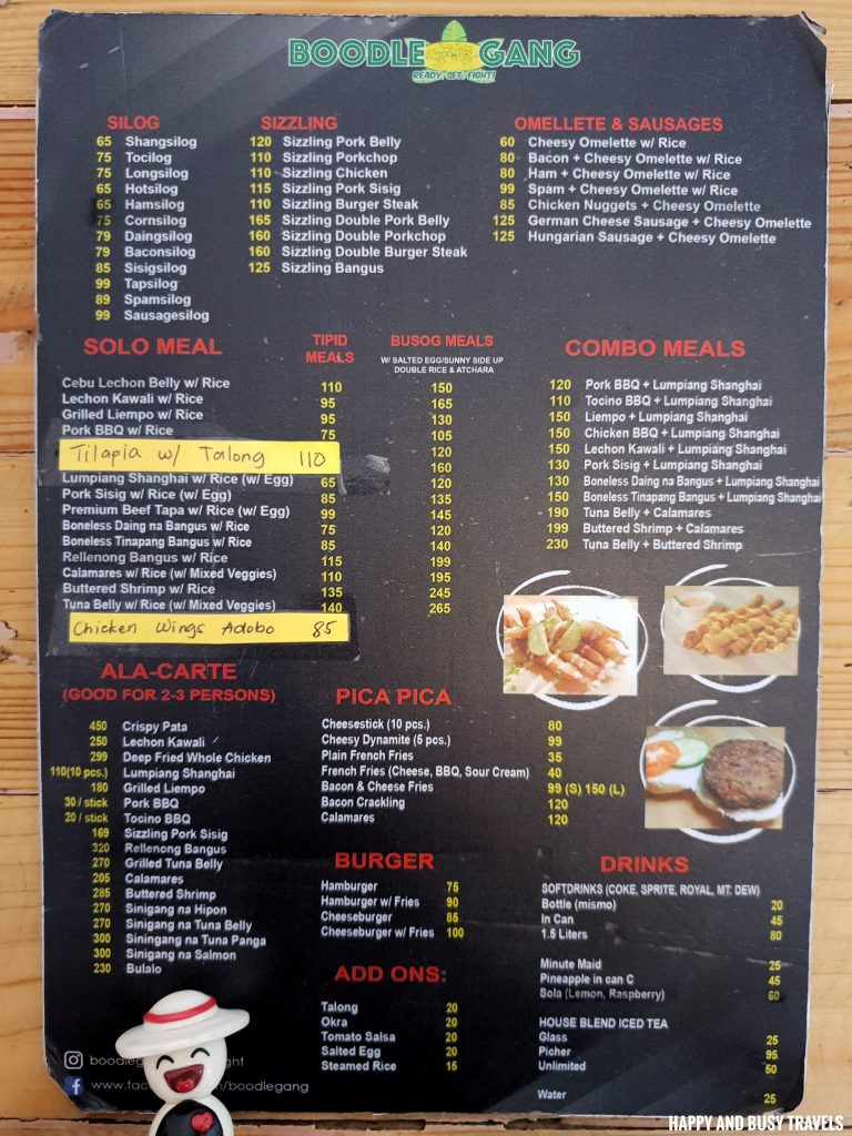 Boodle Gang Chicken Wings Menu Happy and Busy Travels Review