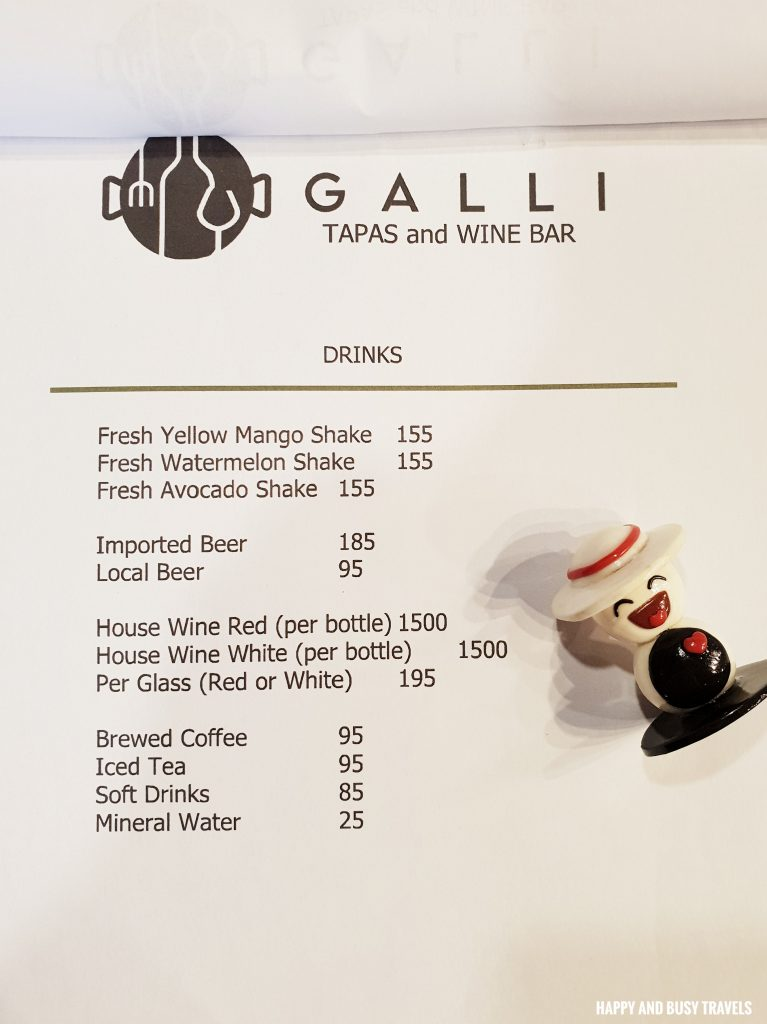 Menu Galli Spanish Restaurant Tagaytay - Happy and Busy Travels Review
