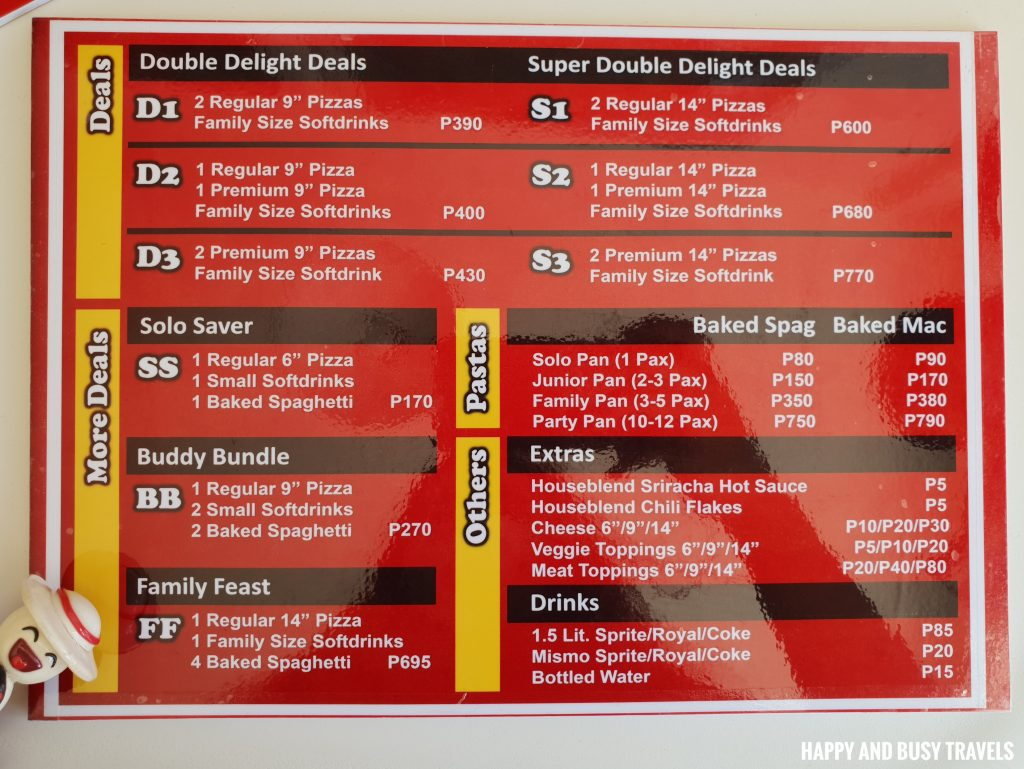 Menu Pizzas of the World Molino Bacoor - Happy and Busy Travels Review