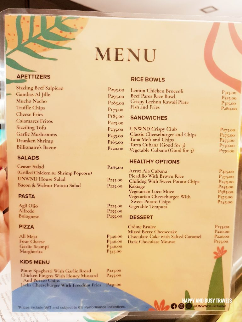 menu Unwnd Lux Hostel Poblacion Makati - Happy and Busy Travels review