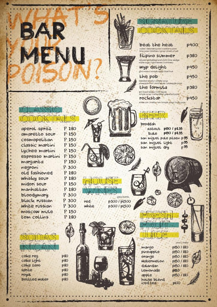 WYP Restaurant What's your poison Poblacion Makati - Bar Menu - Happy and Busy Travels