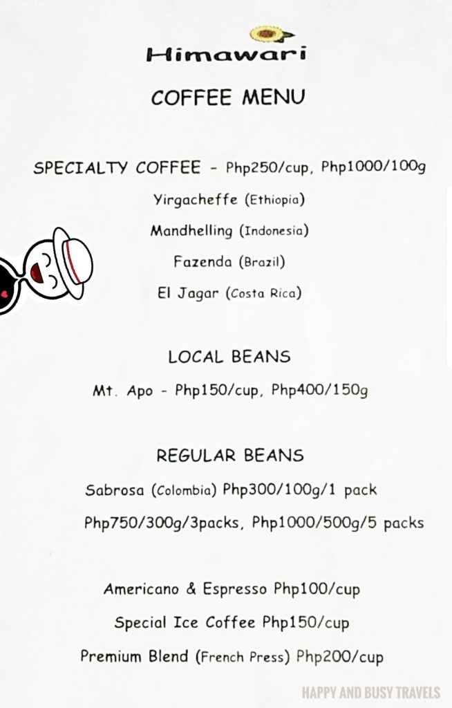 Coffee Menu Himawari Specialty Coffee Silang Tagaytay - Happy and Busy Travels Review