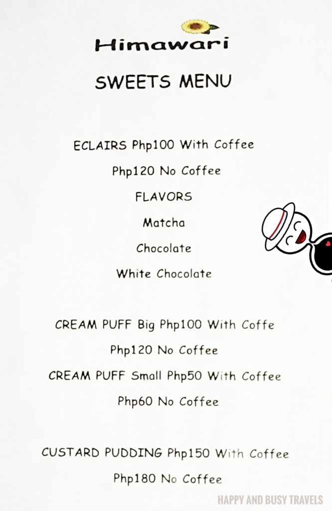 Sweets and pastries menu Himawari Specialty Coffee Silang Tagaytay - Happy and Busy Travels Review