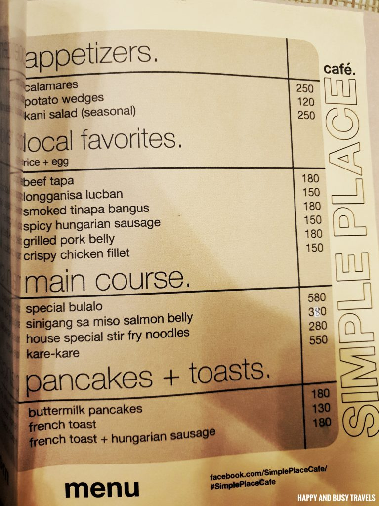 MEnu Simple Place Cafe Tagaytay - Happy and Busy Travels Review