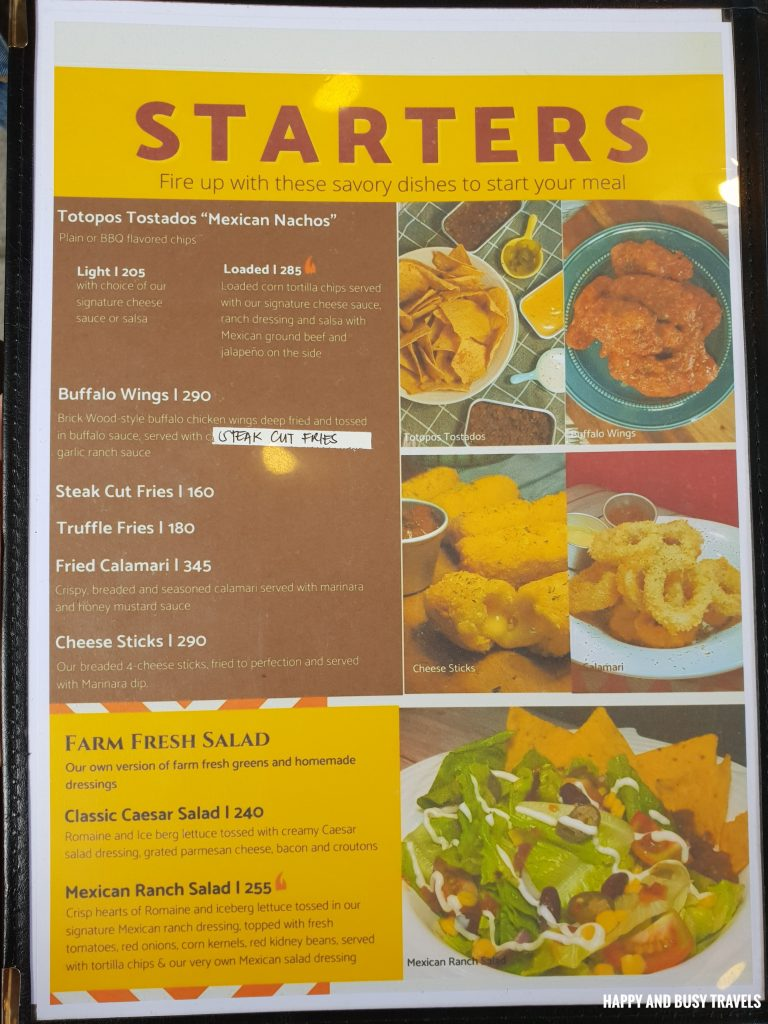 Menu Brick Wood Fire Bistro Ph tex mex restaurant Happy and Busy Travels to Tanza Cavite