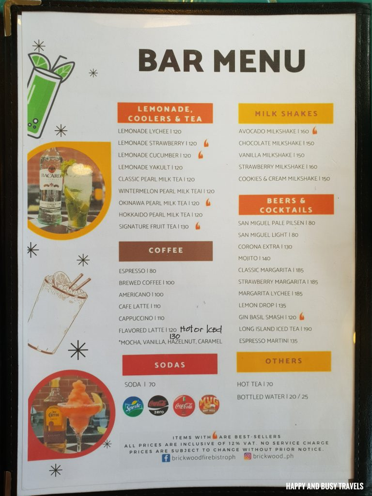 bar menu Brick Wood Fire Bistro Ph tex mex restaurant Happy and Busy Travels to Tanza Cavite