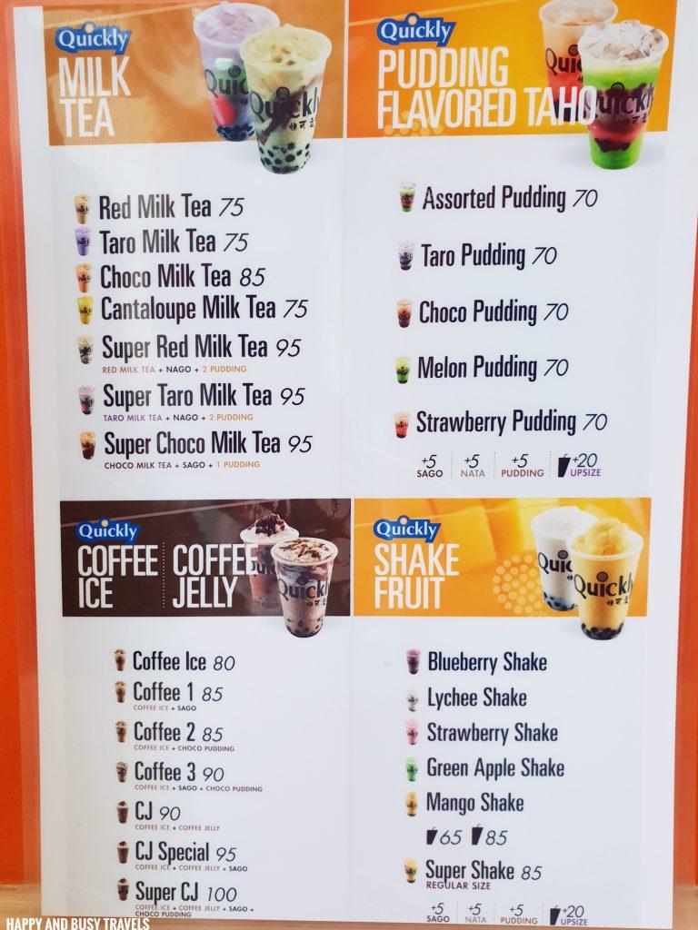 menu Quickly Bayan Dasmarinas City Cavite branch - Happy and Busy Travels