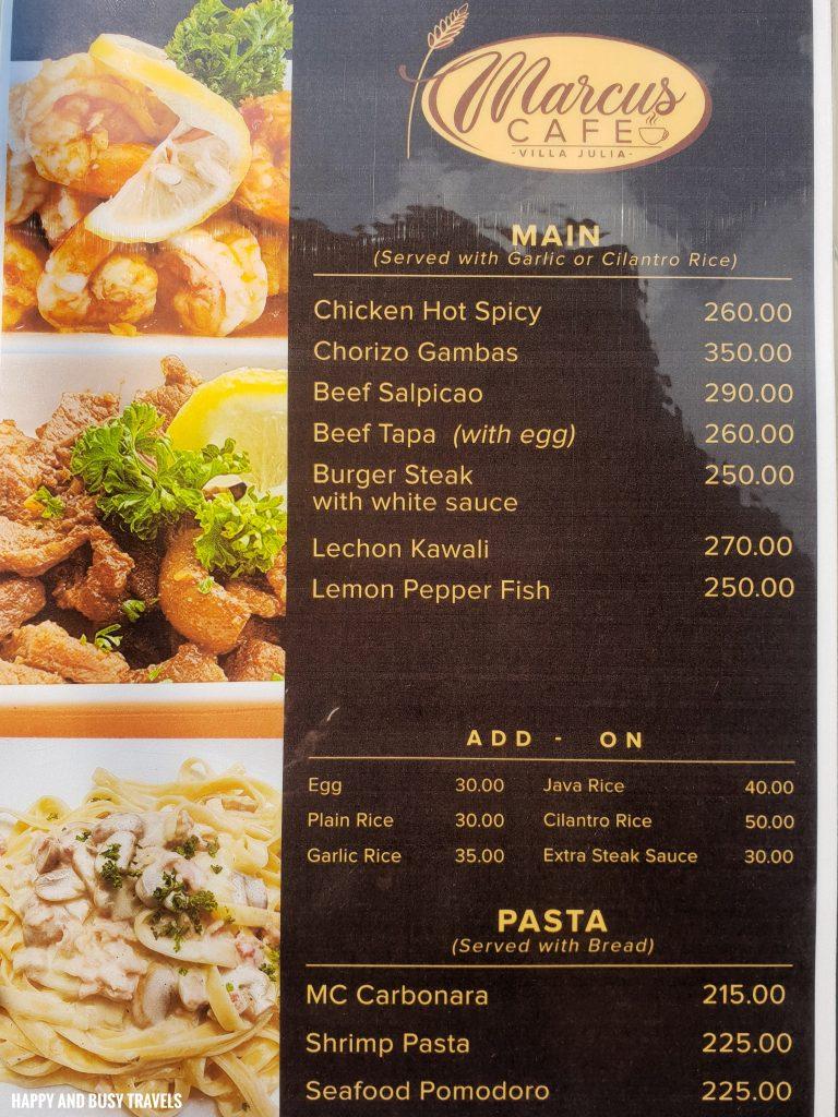 Menu Marcus Cafe Villa Jovita - Happy and Busy Travels to Silang