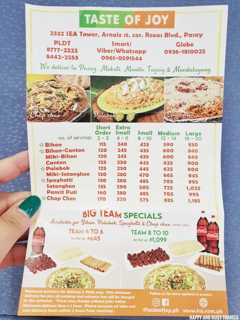 Taste of Joy menu pang handa food - Happy and Busy Travels