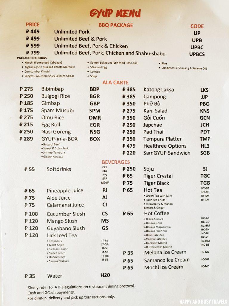 menu Gyup home of pan asian cuisine samgyup shabu shabu - Happy and Busy Travels to Dasmarinas Cavite