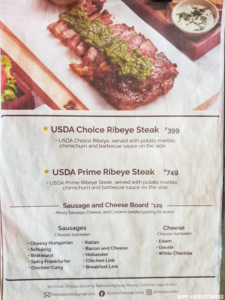 menu The Steak Cartel Calamba Laguna - Happy and Busy Travels