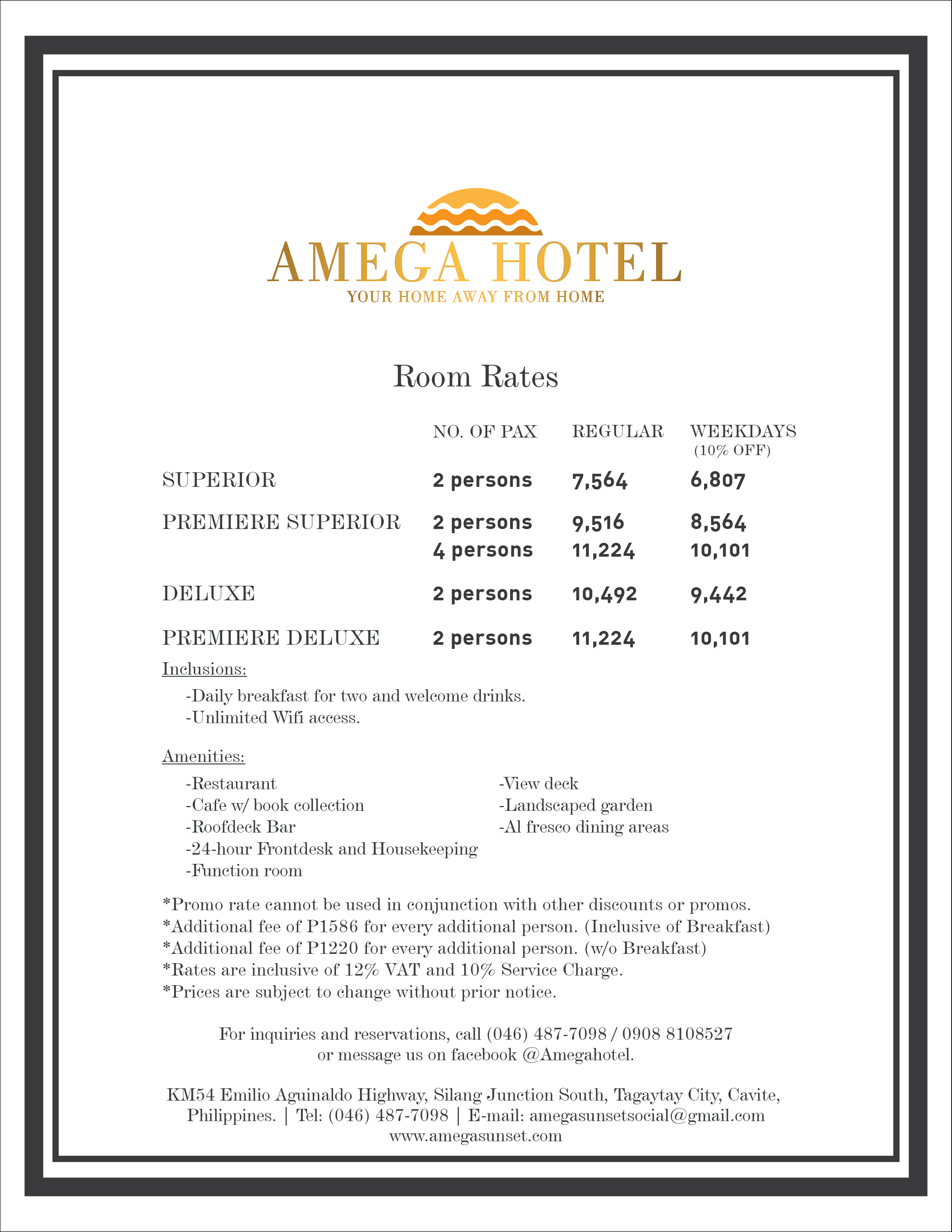 Amega Hotel Room rates Where to stay in tagaytay