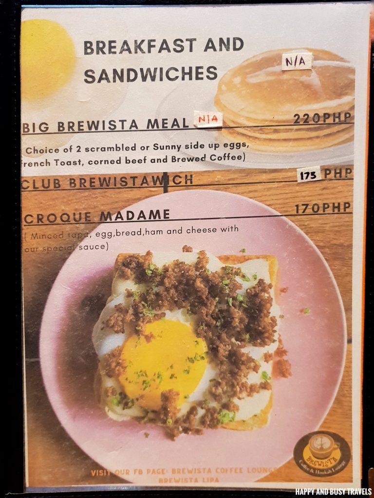 Menu Brewista Cafe Lipa - Happy and Busy Travels Batangas
