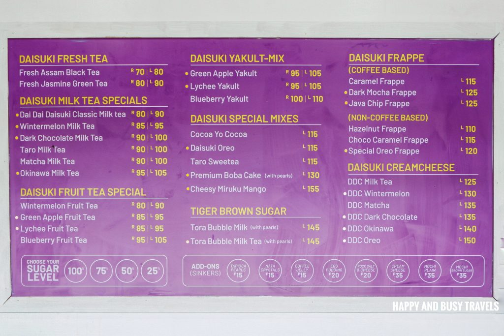 Menu Daisuki Lancaster - Happy and Busy Travels to Cavite