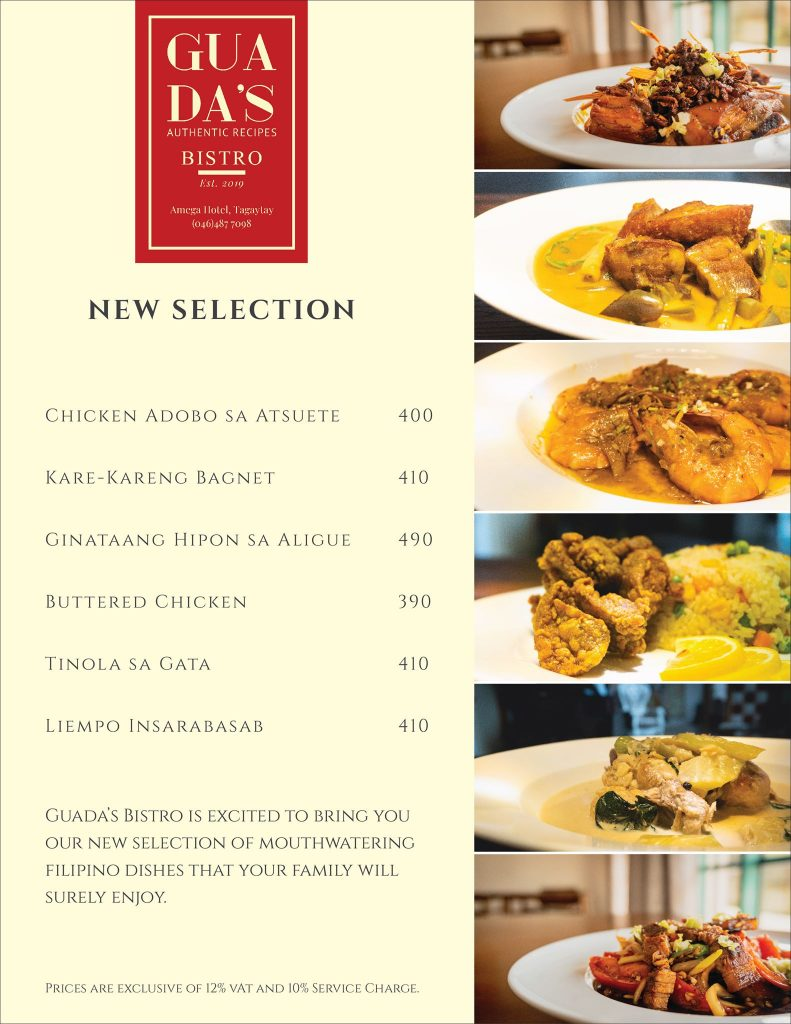 menu Guadas Bistro - Happy and Busy Travels Where to eat in Tagaytay