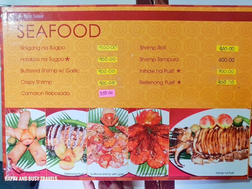 SEafood Menu Hapag Filipino Restaurant - Happy and Busy Travels to Lipa Batangas