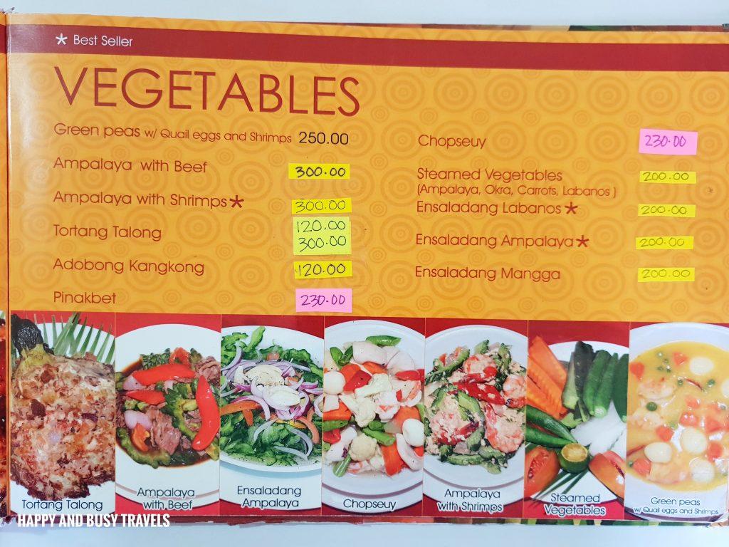 Vegetable Menu Hapag Filipino Restaurant - Happy and Busy Travels to Lipa Batangas