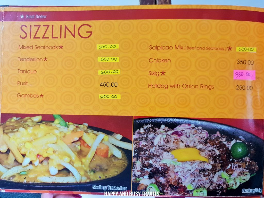 Sizzling Menu Hapag Filipino Restaurant - Happy and Busy Travels to Lipa Batangas