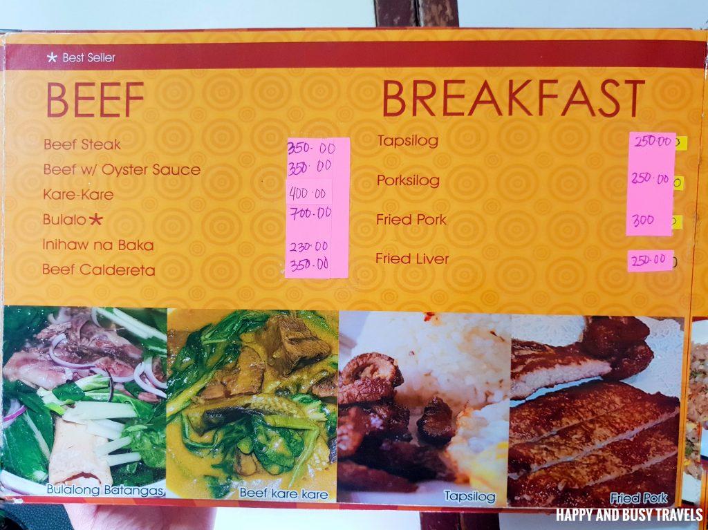 Beef and Breakfast MEnu Hapag Filipino Restaurant - Happy and Busy Travels to Lipa Batangas