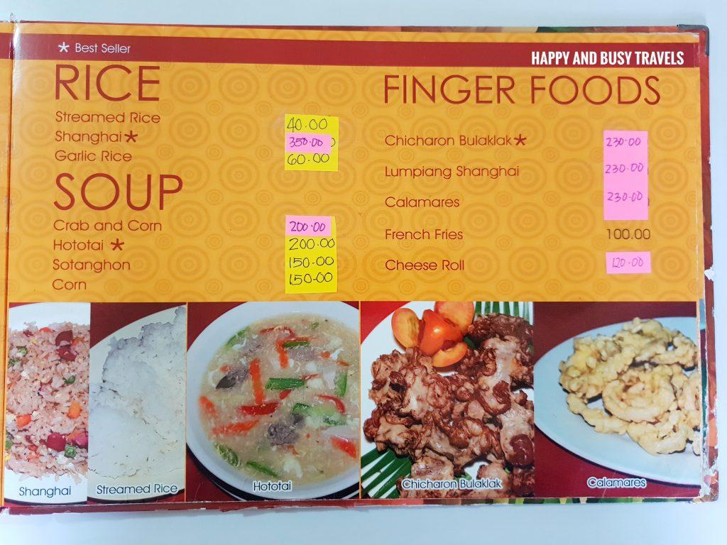 Rice Soup Finger Foods Menu Hapag Filipino Restaurant - Happy and Busy Travels to Lipa Batangas