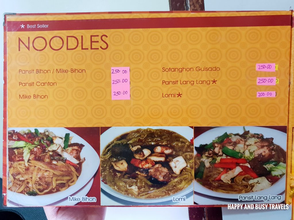 Noodles menu Hapag Filipino Restaurant - Happy and Busy Travels to Lipa Batangas