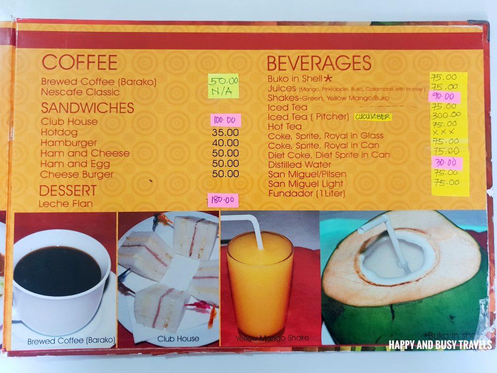 coffee beverages menu Hapag Filipino Restaurant - Happy and Busy Travels to Lipa Batangas