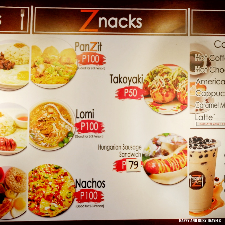 menu AndrewZ Cafe - Happy and Busy Travels Silang Cavite Where to eat in Cavite