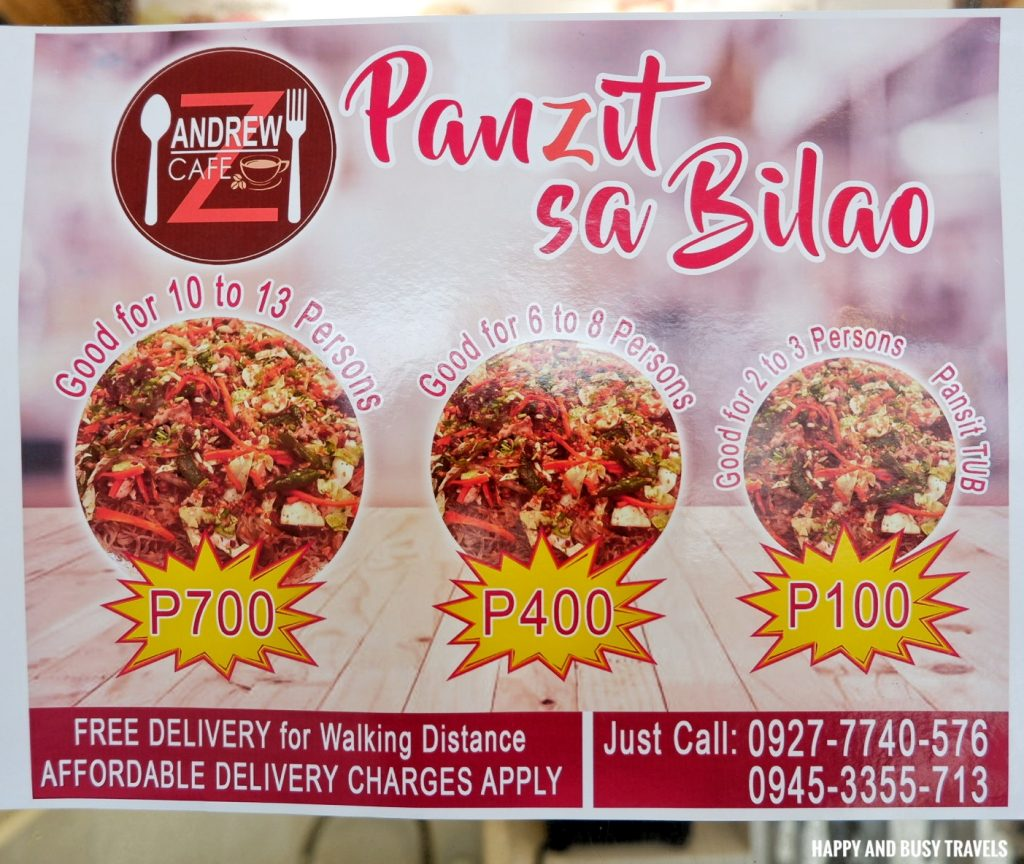 pansit pancit panzit sa bilao menu AndrewZ Cafe - Happy and Busy Travels Silang Cavite Where to eat in Cavite
