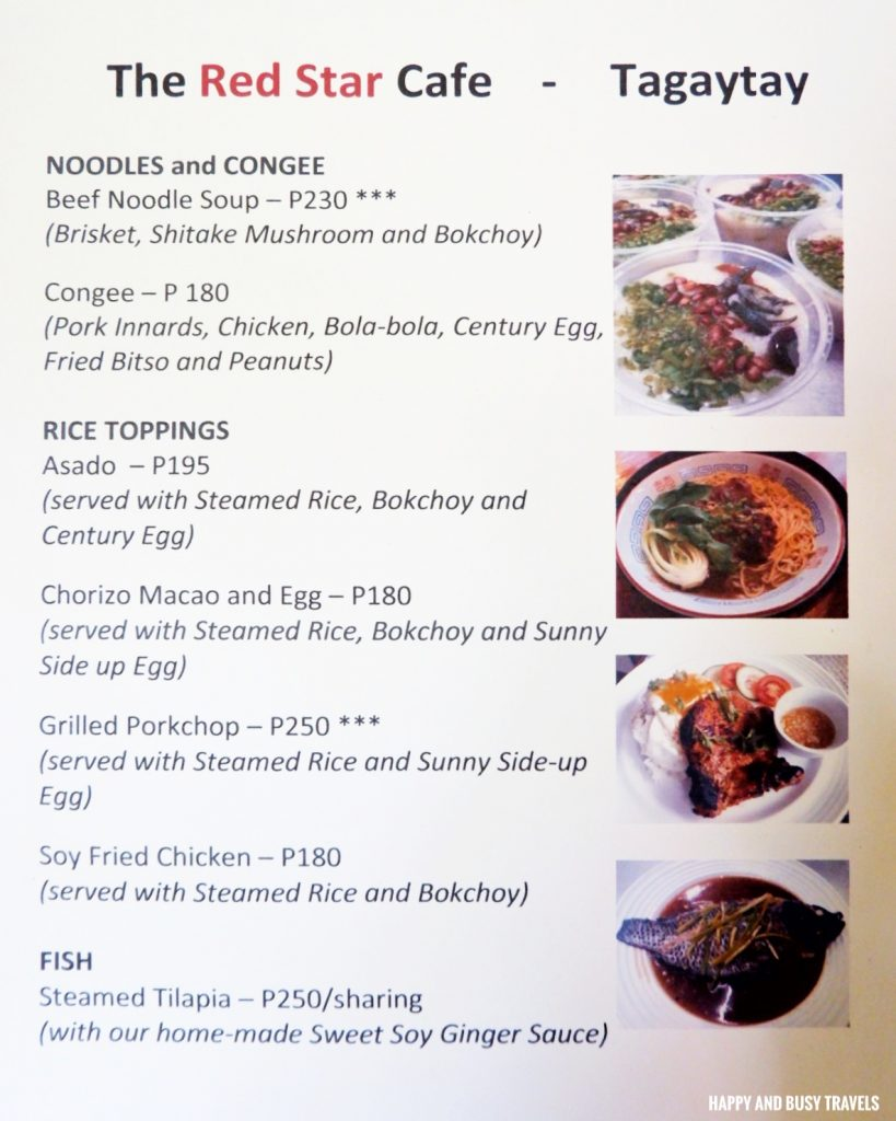 menu The Red Star Cafe Tagaytay - Happy and Busy Travels