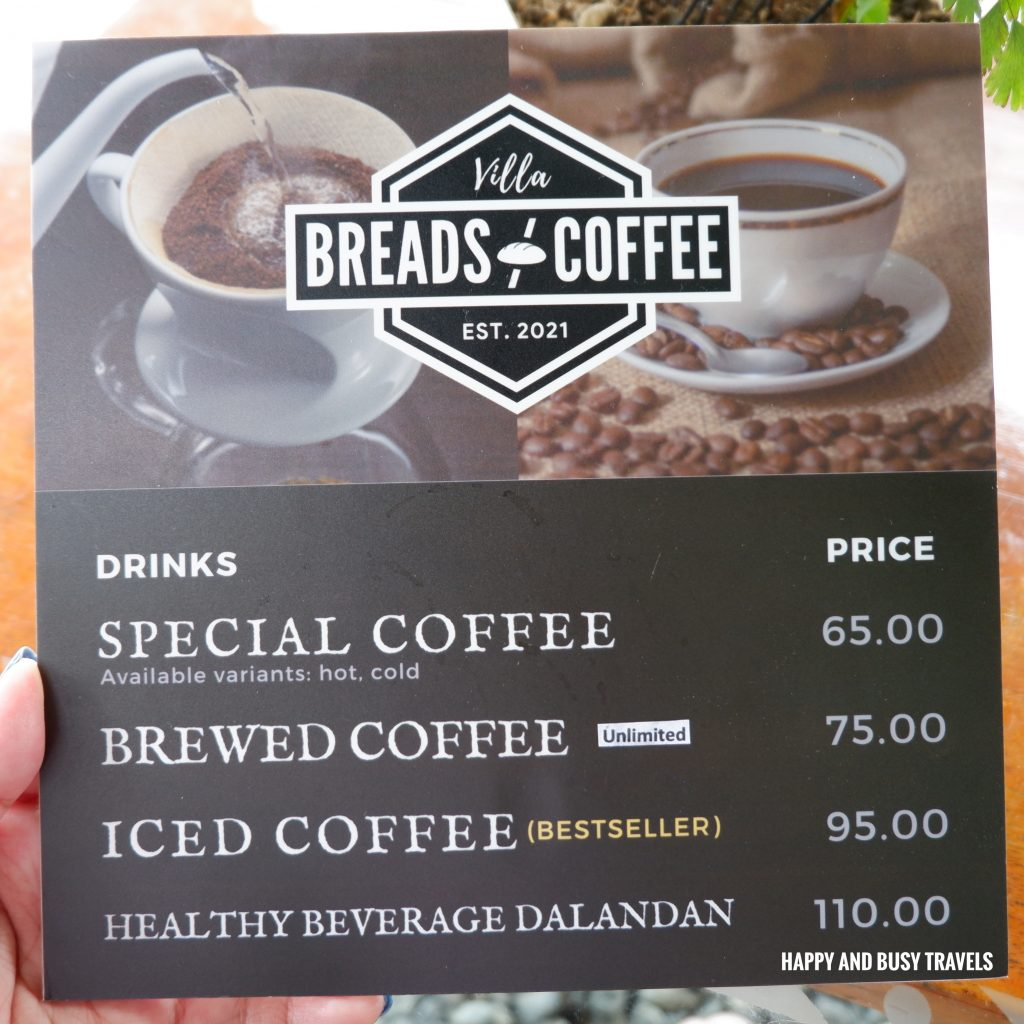 menu Villa Breads and Coffee - Happy and Busy Travels to Amadeo Tagaytay